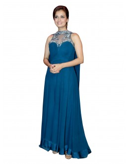 Bollywood Replica -  Designer Embroidered Georgette Blue Anarkali Salwar Suit -  EBSFSK302012 ( EBSFSK30 )