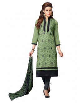 Casual Wear Embroidered Chanderi Cotton Green Straight Cut Salwar Suit -  EBSFSK302021 ( EBSFSK30 )