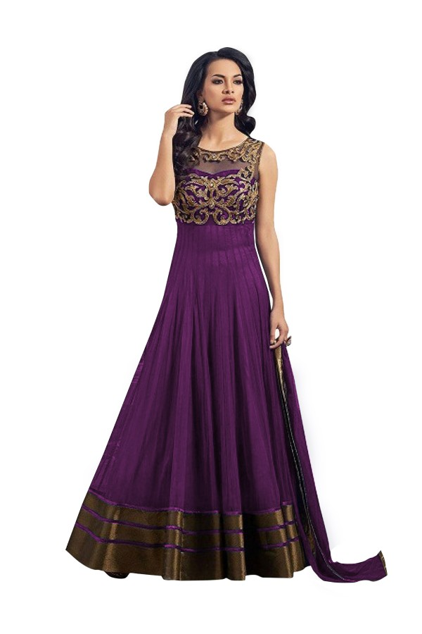 Party Wear Embroidered Banglori Silk Purple Anarkali Salwar Suit -  EBSFSK302013B ( EBSFSK30 )