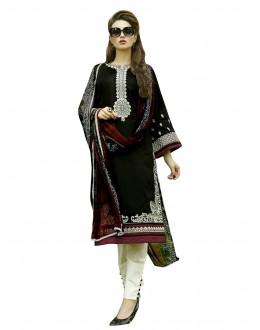 Traditional Embroidered Heavy Cotton Black Straight Cut Salwar Suit -  EBSFSK302037A ( EBSFSK30 )