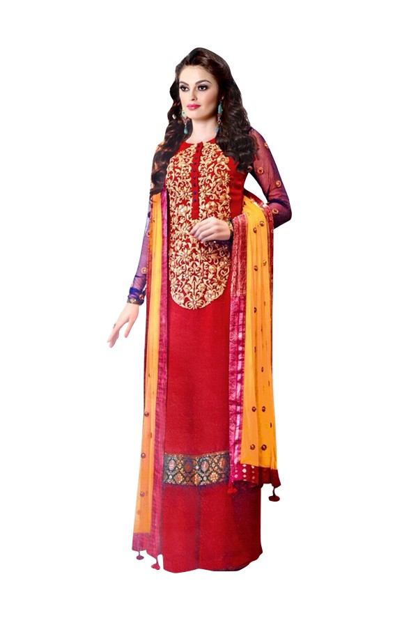 Ethnic Wear Georgette Red Palazzo Suit - EBSFSK317002