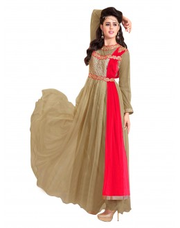 Party Wear Net Beige Gown - EBSFSK317001E