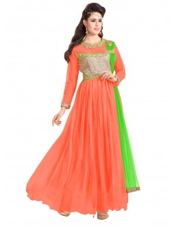 Party Wear Net Peach Gown - EBSFSK317001F