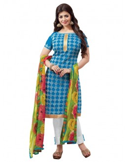 Chanderi Blue Salwar Suit - EBSFSKRB334069