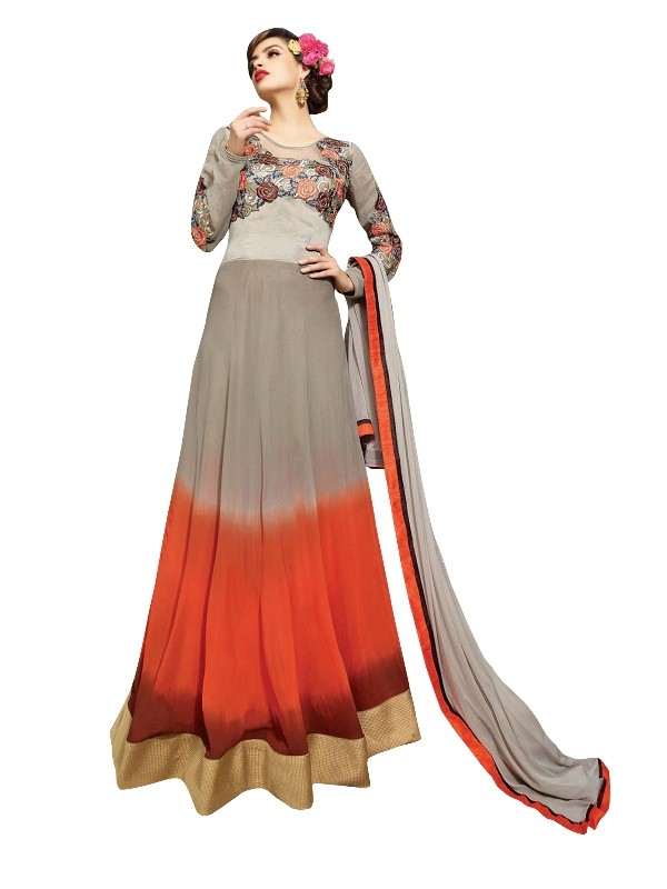 Faux Georgette Grey Anarkali Suit  - EBSFSKRB334008