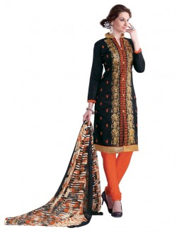 Party Wear Chanderi Black Churidar Suit - EBSFSKRB334001