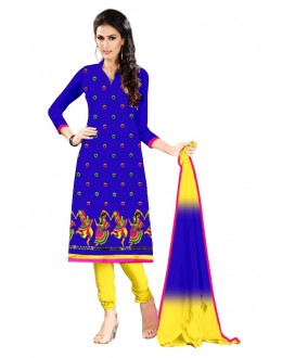 Party Wear Chanderi Blue Churidar Suit - EBSFSKRB334025