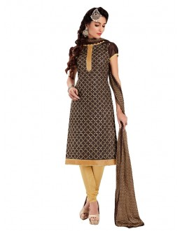 Party Wear Chanderi Brown Churidar Suit - EBSFSKRB334004