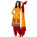 Party Wear Chanderi Yellow Churidar Suit - EBSFSKRB334028