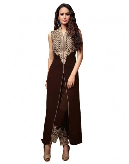 Party Wear Georgette Brown Anarkali Suit  - EBSFSKRB334027B