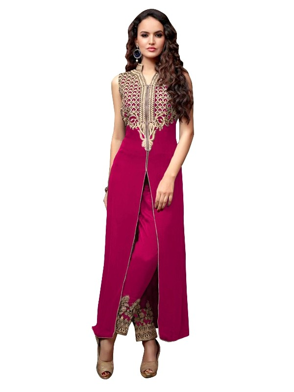 Party Wear Georgette Magenta Anarkali Suit  - EBSFSKRB334027A