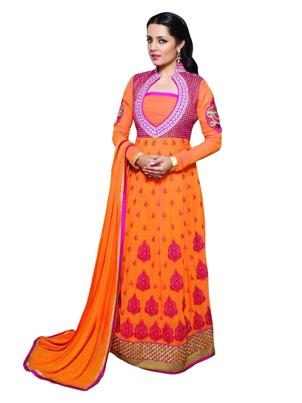 Party Wear Georgette Orange Anarkali Suit  - EBSFSKRB334007