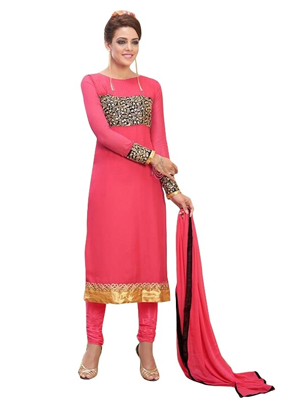 Party Wear Georgette Pink Churidar Suit - EBSFSKRB334016