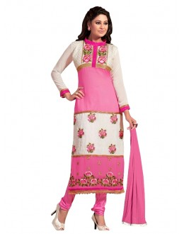 Party Wear Georgette Pink Churidar Suit - EBSFSKRB334021