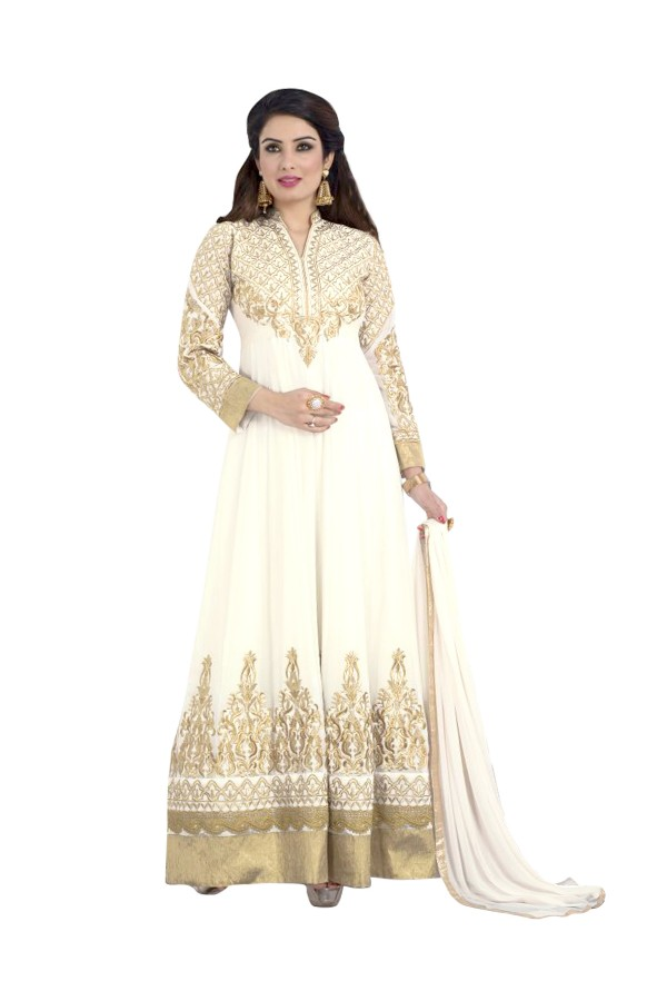 Party Wear Georgette White Anarkali Suit  - EBSFSKDF334086