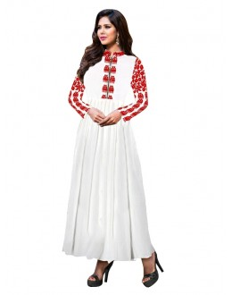 Party Wear Georgette White Anarkali Suit  - EBSFSKRB334005F