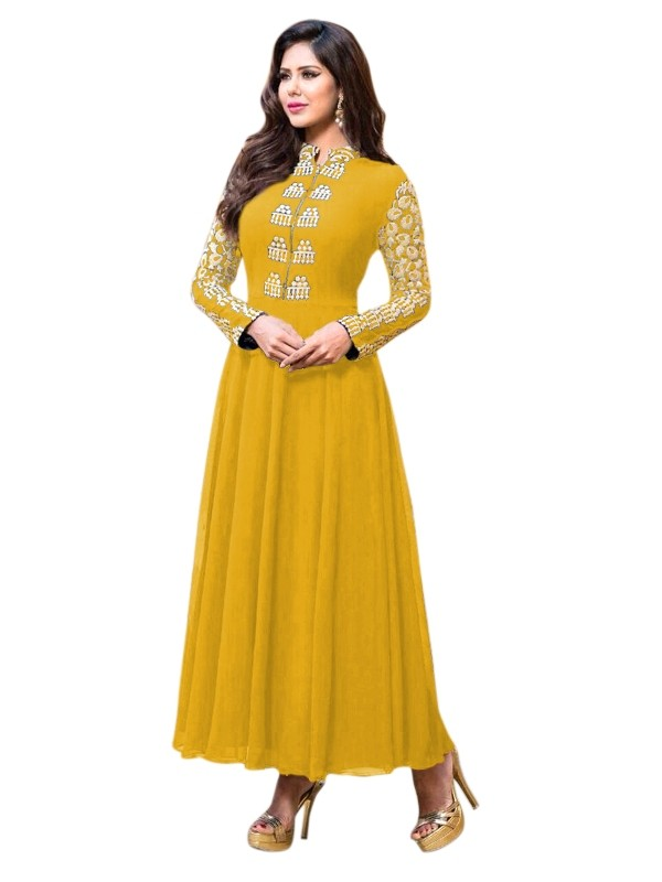 Party Wear Georgette Yellow Anarkali Suit  - EBSFSKRB334005B