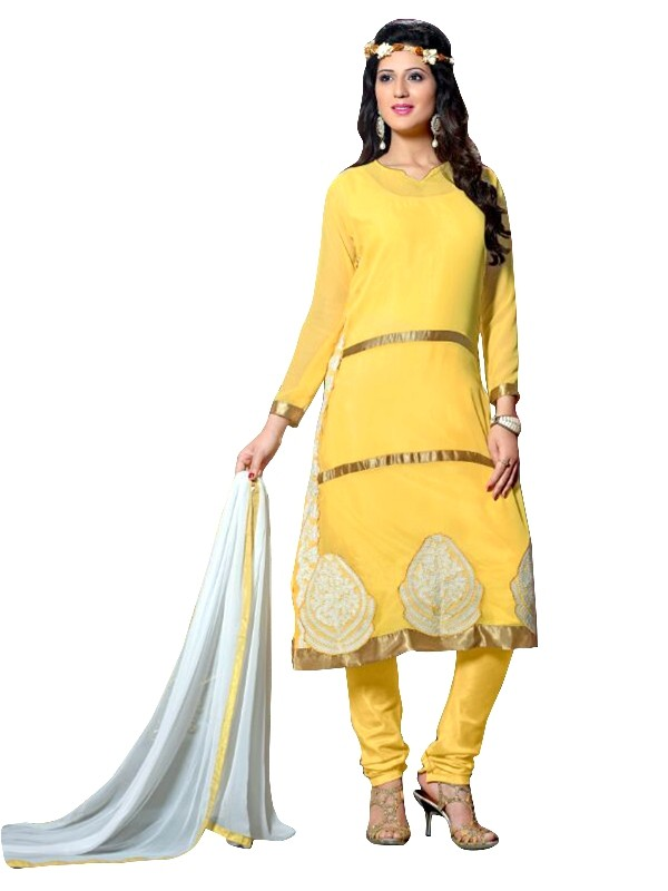Party Wear Georgette Yellow Churidar Suit - EBSFSKRB334014