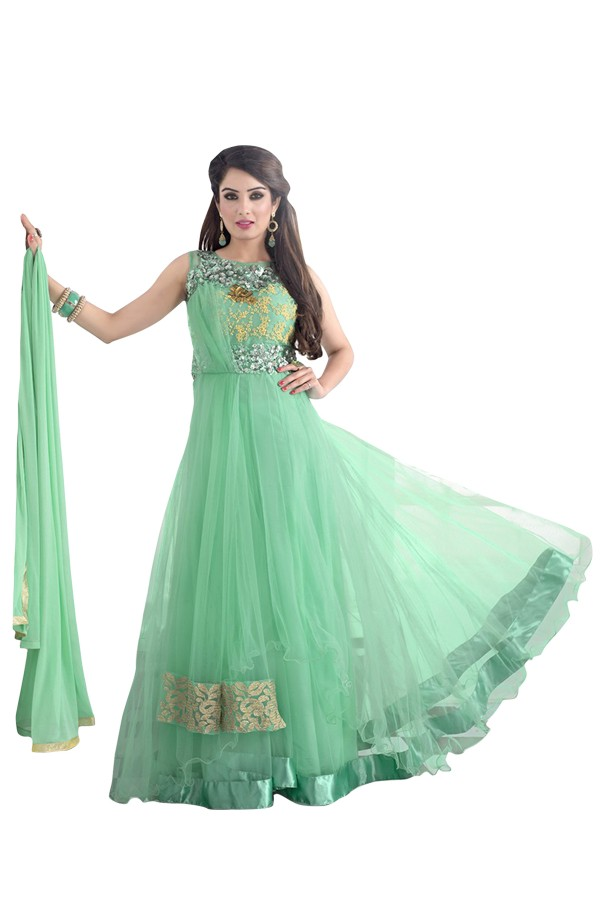 Party Wear Net Green Anarkali Suit  - EBSFSKDF334089