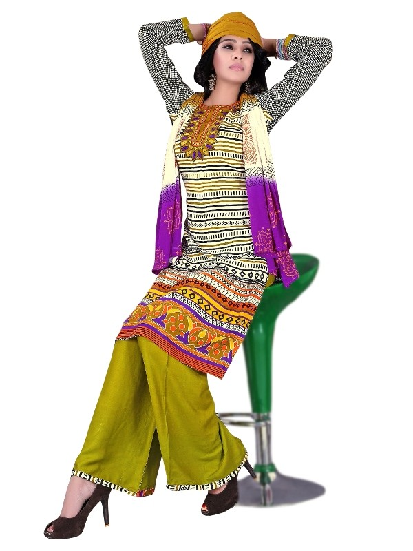 Rayon Cotton Multicolor Salwar Suit - EBSFSKRB334035