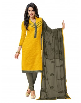 Casual Wear Embroidered Chanderi Yellow Unstitched Salwar Suit - EBSFSK342009 ( EBSFSK34 )
