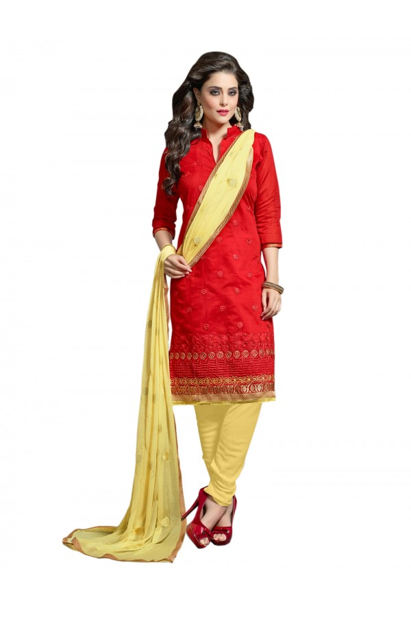 Chanderi Red Salwar Suit Dress Material  - EBSFSK36RE1008