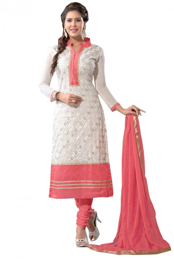 Party Wear Chanderi White Salwar Suit Dress Material  - EBSFSK36MB1010