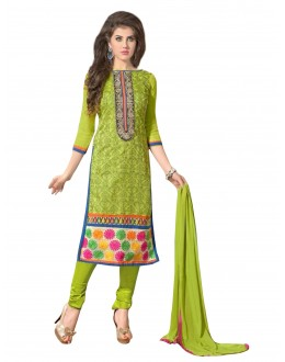 Casual Wear Embroidered Chanderi Straight Cut Green Salwar Suit - EBSFSKAH376005 ( EBSFSK37 )