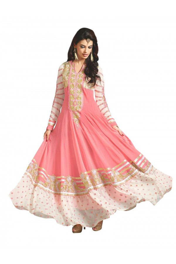 Party  Wear Embroidered Georgette Peach Anarkali Salwar Suit - EBSFSKAH376002E ( EBSFSK37 )