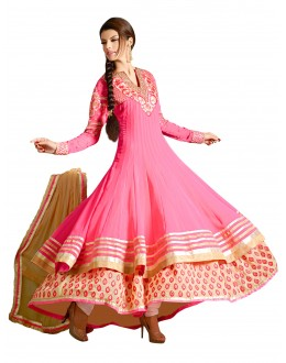 Party  Wear Embroidered Georgette Pink Anarkali Salwar Suit - EBSFSKAH376001 ( EBSFSK37 )