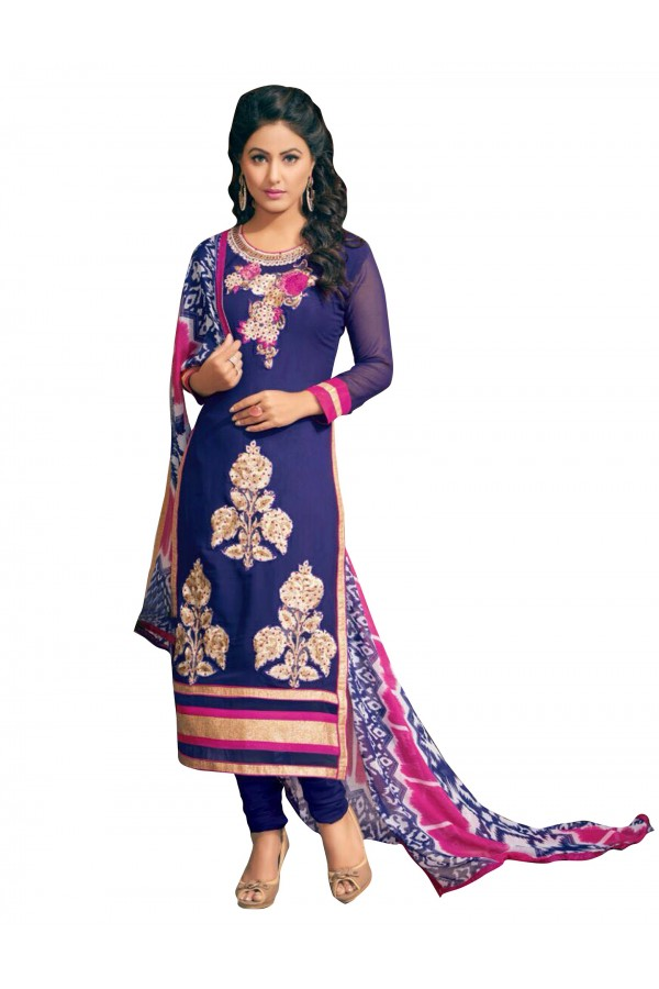 Party Wear Embroidered Georgette Straight Cut Blue Salwar Suit - EBSFSKRB376015 ( EBSFSK37 )