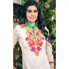 Party Wear Embroidered Georgette Straight Cut White Salwar Suit - EBSFSKRB376021 ( EBSFSK37 )