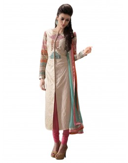 Party Wear Embroidered Jute Cotton Straight Cut Beige Salwar Suit - EBSFSKJF376011 ( EBSFSK37 )