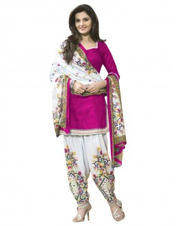 Cotton Pink Unstitched Patiala Suit - EBSFSK429007A