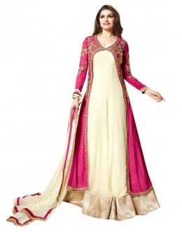 Georgette Cream & Pink Anarkali Suit - EBSFSKSJ429014