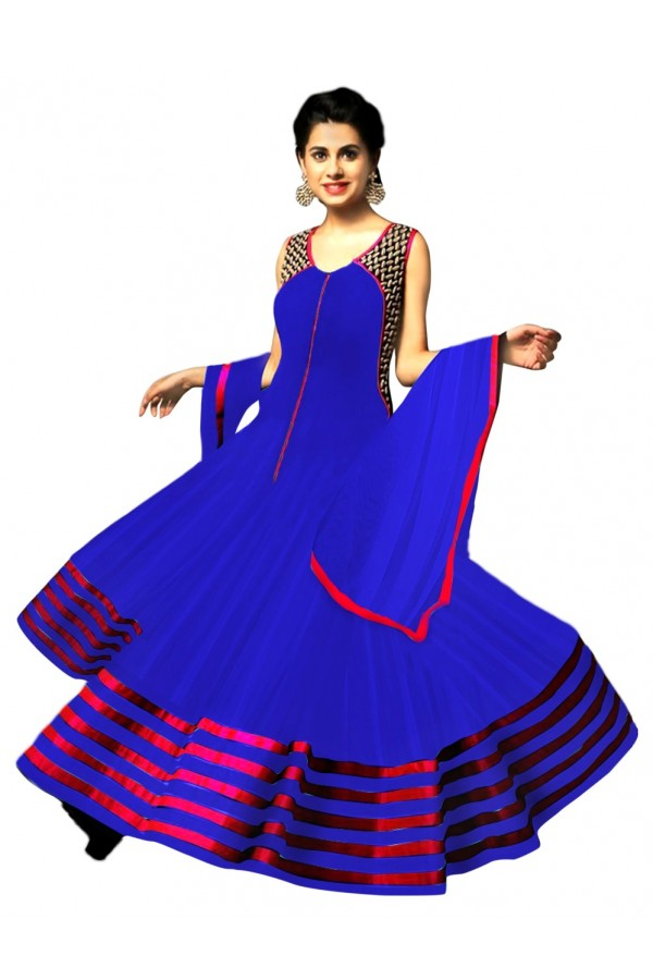 Party Wear Georgette Blue Anarkali Suit - EBSFSK223045C