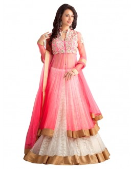 Wedding Wear Net Pink Lehenga Suit - EBSFSKJB429009