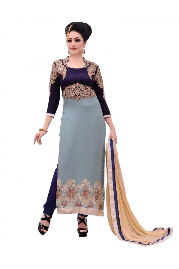 Georgette Blue & Grey Salwar Suit - EBSFSKDF43808