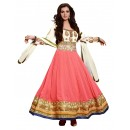 Georgette Peach & White Anarkali Suit - EBSFSKDF43703