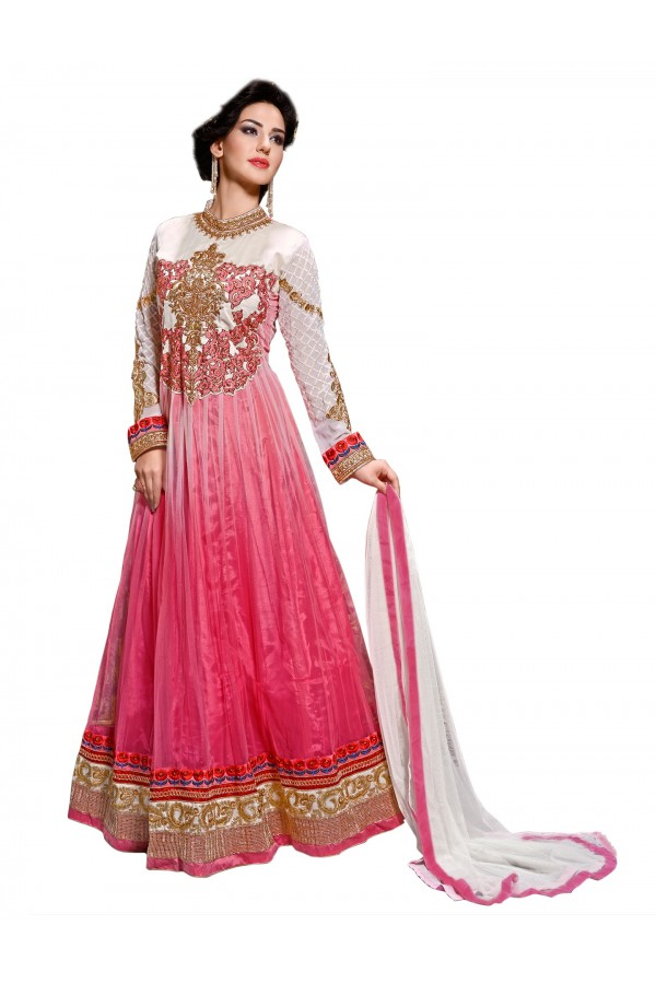 Net Pink & White Anarkali Suit - EBSFSKDF43605