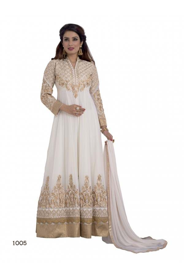 Party Wear Georgette White Anarkali Suit - EBSFSKDF431005C
