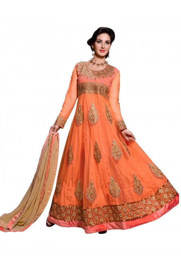 Party Wear Net Orange Anarkali Suit - EBSFSKDF43608