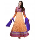 Wedding Wear Brasso Orange Anarkali Suit - EBSFSKDF43506