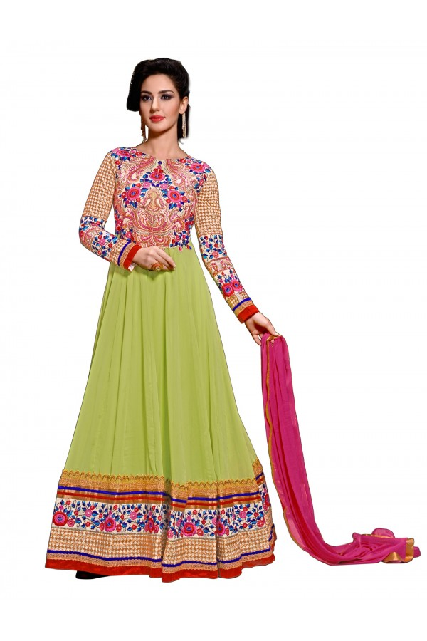 Wedding Wear Georgette Green Anarkali Suit - EBSFSKDF43601