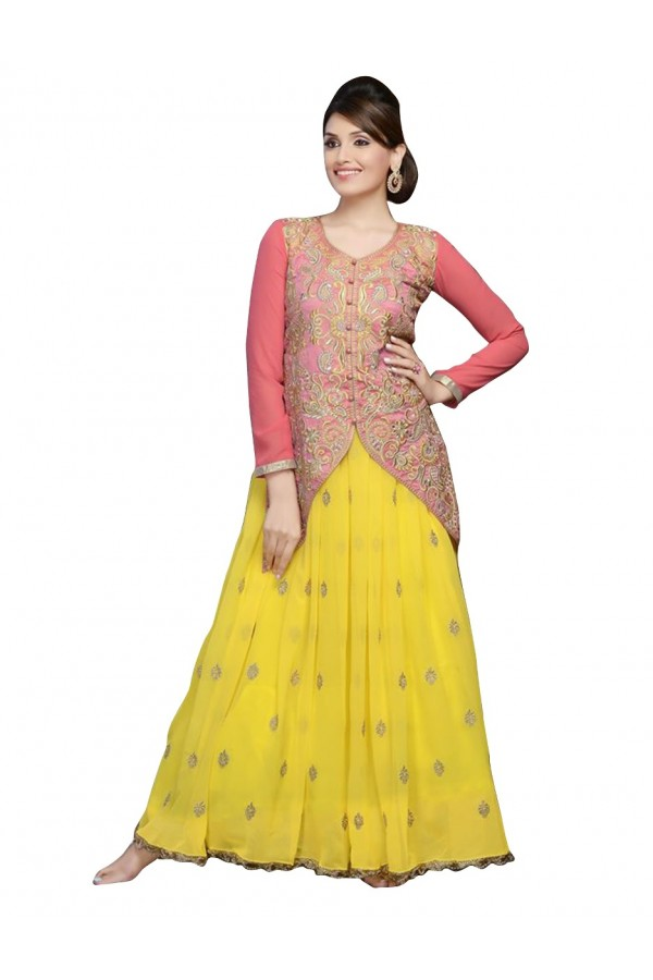 Wedding Wear Georgette Peach & Yellow Anarkali Suit - EBSFSKDF43508