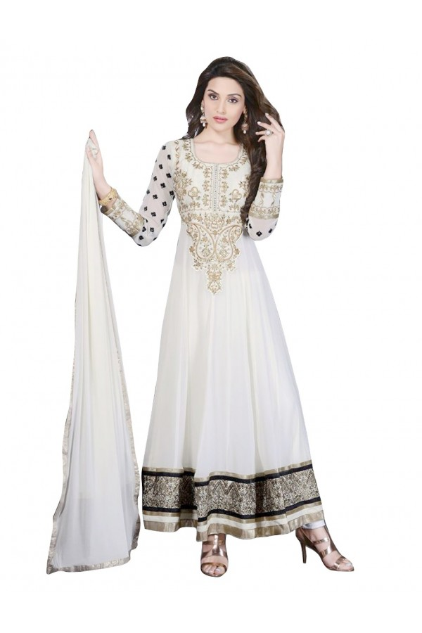 Wedding Wear Georgette White Anarkali Suit - EBSFSKDF43507