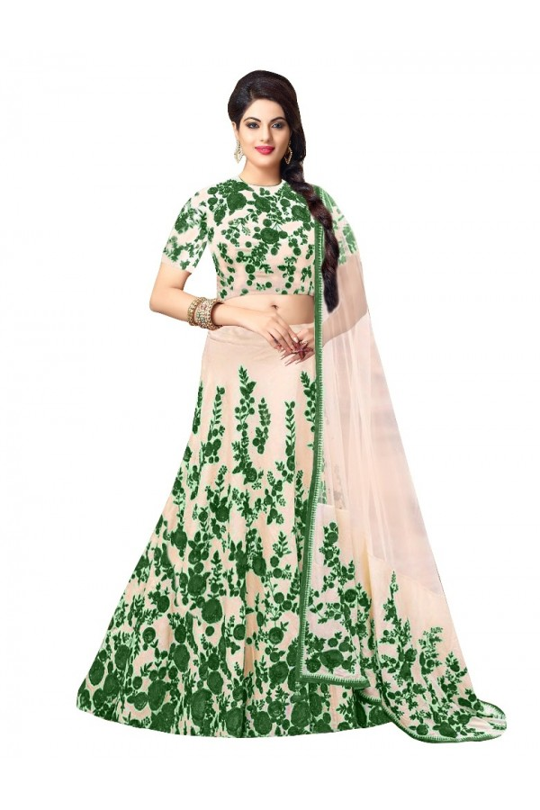 Bollywood Replica - Party Wear Bhagalpuri White & Green Lehenga Choli - 60001