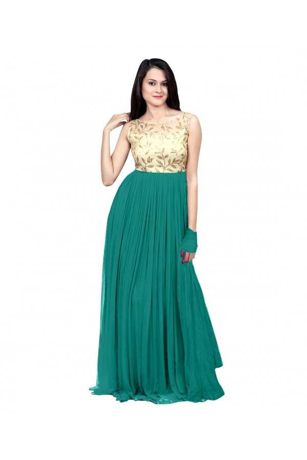 Eid Special Party Wear Sea Green Gown - 70511