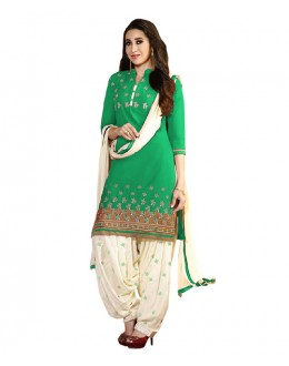 Eid Special Green Cotton Un-Stitched Salwar Suit - EBSFSK291001D