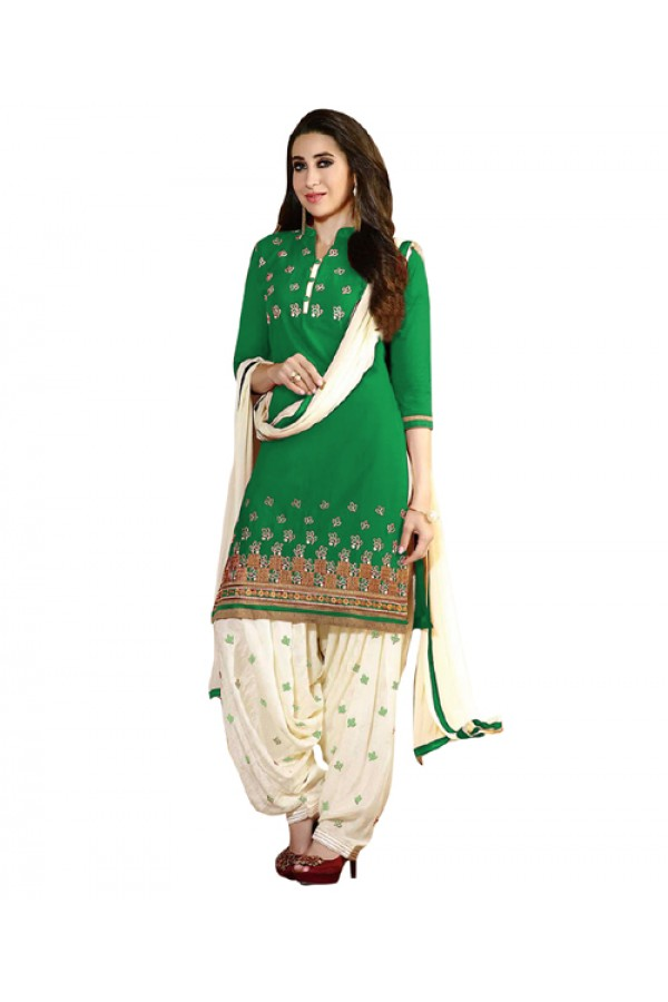 Eid Special Green Cotton Un-Stitched Salwar Suit - EBSFSK291001G